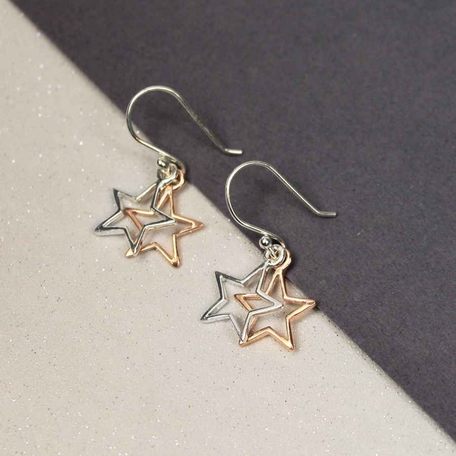 Silver Amp Rose Gold Cut Out Star Earrings Homebyrachel